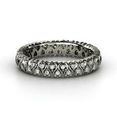 Cloaked in Hearts Band - Sterling Silver Ring with Diamond | Gemvara- $1065. I would love this ring to replace my broken wedding ring!