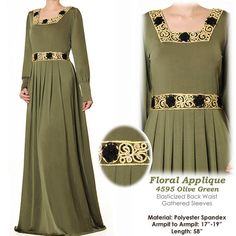 Floral Applique Jersey Abaya Muslim Islamic Long Sleeved Maxi Dress Size S/M - 4595 Olive Green