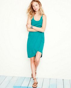 This quintessential knit dress from Velvet boasts a tacked tulip hem, relaxed silhouette, and a trio of cool colors.