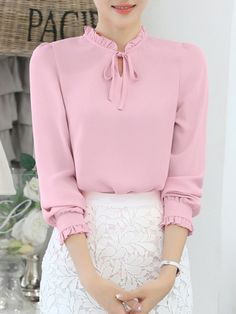 Buy Tie Collar Ruffle Trim Keyhole Plain Blouse online with cheap prices and discover fashion Blouse Girly Outfits, Classy Outfits, Skirt Outfits, Stylish Outfits, Beautiful Outfits, Simple Outfits, Hijab Fashion, Korean Fashion, Fashion Outfits