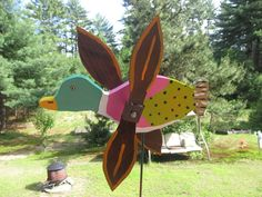 New Green Head Duck Whirligig Wind Spinner Hand Made 12 Inch Stake Included
