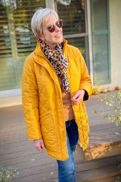 une femme d'un certain age | Two easy outfits with quilted layers #quiltedjacket #leopardprint #scarves #falloutfit