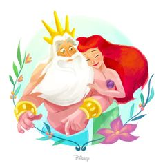 Little Mermaid and her dad King Triton