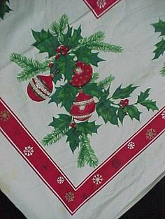 Vintage 1940s Table Cloths | Vintage Cotton Printed Tablecloth 1940s Christmas Ribbons Poinsettias ...