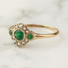 Antique Emerald Pearl Halo Ring in 14k Rose Gold — Hoard Jewelry