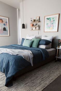 Gina's home: Master bedroom refresh. String shelf, shelf styling, contemporary shelf, shelf above be Bedroom Art Above Bed, Bedding Master Bedroom, Shelves In Bedroom, Blue Bedroom, Bedroom Wall, Bedroom Decor, Shelf Above Bed, Shelving Above Bed, String Regal