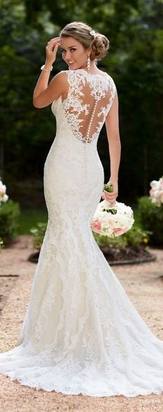 Lace wedding dress. All brides think of finding the ideal wedding day, but for this they require the ideal bridal gown, with the bridesmaid's outfits actually complimenting the wedding brides dress. Here are a few ideas on wedding dresses. #weddingdress