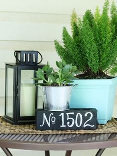 Paint a brick  ~  House Number Ideas - DIY Curb Appeal - Good Housekeeping