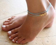 Delicate Turquoise Anklet With 3 Gold Beads  by Galis2014 on Etsy