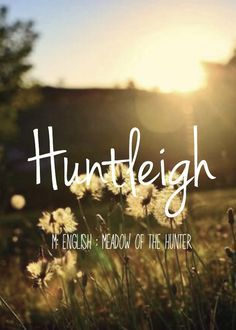 Huntleigh - beautiful baby girl name! Pronounced: Hunt-Lee or Hunt-Lay