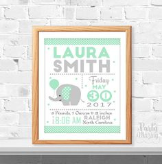 Mint Elephant Printable Baby announcement Birth Stats Modern Baby Birth stats Elephant Nursery Instant Download -D373 BBEM1 by Partymazing