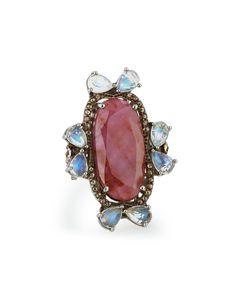 Bavna Sapphire, Moonstone & Diamond Cocktail Ring, Size 7, Women's