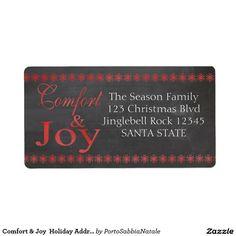 Comfort & Joy  Holiday Address Label