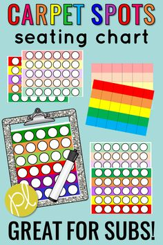 These editable carpet seating charts will help Back to School go smoothly as we get to know our students. Printable carpet circle spots are also included! Edit to customize for your students. #carpetspots #seatingcharts #classroommanagement