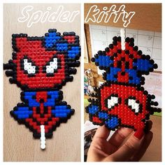 Spider Kitty hama beads, perler beads, bead sprites, nabbi fuse melty beads  by misa_ibanez