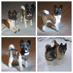 """Akita Maverick & Maui~ Needle Felted Dog by Gourmet Felted.   I HAVE TO GET ONE OF THESE OF """"OUR"""" AKITA PUP!!!!! LOVE THIS!!"""