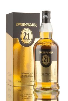 The 2018 release of the ever popular Springbank 21 year old, created using a combination of whisky matured in bourbon and rum casks, with the majority coming from the latter (70%). 3,700 bottles released for the 2018 bottling, filled at 46% vol and presented as ever in shiny gold attire. Springbank Whisky, Single Malt Whisky, Scotch Whiskey, Beer Bar, 21 Years Old, Wine And Spirits, Bottle Design, Bourbon, Whiskey Bottle
