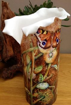 Autumnal vase with Peacock Butterfly  By Mark Jones