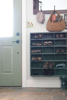 ~Behind door or long wall in laundry room. OH GOODNESS.I love love love this shoe storage or whatever storage. It is off the ground & easier to reach & clean under (also leaves space for super tall rain or work boots if needed). Mini Loft, Ideas Para Organizar, Getting Organized, Home Organization, Home Projects, Diy Furniture, Shelving, Home Improvement, Sweet Home