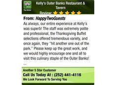 As always, our entire experience at Kelly's was superb! The staff was extremely polite...