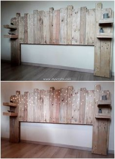 Implausible DIY creations from wooden pallets - pallet bed headboard - . - Implausible DIY creations from wooden pallets – pallet bed headboard – - Diy Pallet Bed, Diy Pallet Furniture, Diy Furniture Projects, Diy Pallet Projects, Pallet Ideas, Outdoor Pallet, Diy Crafts With Pallets, Pallet Diy Decor, Pallet Decorations