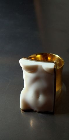 SHINJI NAKABA - new cut body ring - Carved seashell , silver925 gold-plated , 2013