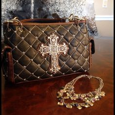 NWTMontana West Crystal Cross Quilted Handbag Western Chic! Brand new with tags. High quality faux leather quilted satchel. Silver cross and crystals. 13x8x5  Montana West Bags Satchels