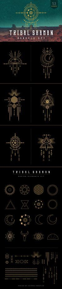This #tribal inspired #mandala set combines elements of the earth, moon, geometry, feathers and animal totems.