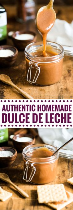 This rich and caramel-y Authentic Homemade Dulce de Leche is easy to make, requires only 5 ingredients and is one of my favorite Mexican desserts! via @isabeleats Mexican Pastries, Mexican Dishes, Mexican Bread, Authentic Mexican Recipes, Mexican Food Recipes, Drink Recipes, Köstliche Desserts, Delicious Desserts, Mexican Dessert Easy