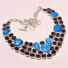"""Sparkling Australian Triplet Opal & Amethyst 925 Silver Jewelry Necklace 18"""" #Unbranded #Choker"""