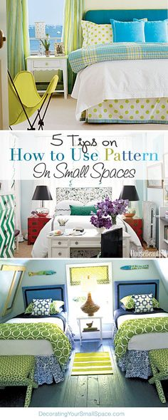 Furniture Layouts With The Lake House 5 Tips On How To Use Pattern In Small Spaces Home Bedroom, Bedroom Decor, Bedroom Ideas, Bedrooms, Interior Exterior, Interior Design, Do It Yourself Baby, Decorating Small Spaces, Budget Decorating