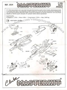 Pagina numero 1 do manual do  kit F18 blue angels da empresa masterkit made in Brasil ref 1014 escala 1:72