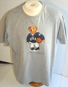 9dcf645f2 Check out this rare vintage 90's Polo Ralph Lauren Basketball Bear with USA  Hoodie T-