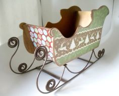 Wood Sleigh Altered Sleigh Decoupage Sleigh by BlingNThingsbyPenny, $24.00 https://www.etsy.com/listing/172203215/wood-sleigh-altered-sleigh-decoupage?utm_source=OpenGraph&utm_medium=ConnectedShop&utm_campaign=Share
