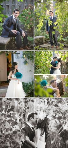 blue feather bouquet and boutonniere