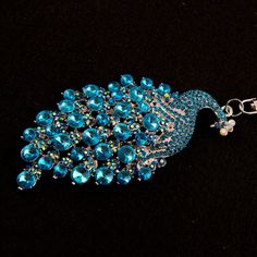 12.19$  Watch now - http://viwbe.justgood.pw/vig/item.php?t=pvs83f7565 - Peacock Rhinestone Keychain Crystal Charm Purse Gift Turquoise