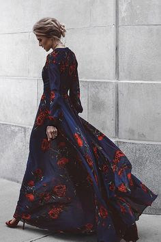 Blossom Buddy Red and Navy Blue Floral Print Maxi Dress 8