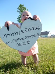 Gorgeous shabby chic hand cut Heart Shaped Save the Date Mommy and Daddy are Getting Married. Adorable sign for your daughter or son to hold in