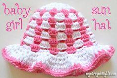 Free Crochet baby girl sun hat Pattern