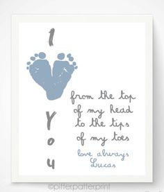 Personalized Father's Day Gifts for Him:  Personalized I Love You Baby Footprint Heart Artwork Print by Pitter Patter Print @ Etsy