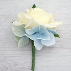 Ivory and Light Blue Buttonhole