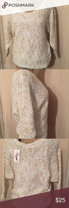 Jessica simpson sweater Top Size medium NWT. Silver sequins knit. Long sleeve. Jessica Simpson Sweaters Crew & Scoop Necks