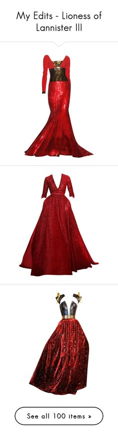"""My Edits - Lioness of Lannister III"" by mlleemilee ❤ liked on Polyvore featuring dresses, gowns, vestidos, long dresses, red evening dresses, elie saab, elie saab gowns, elie saab dresses, red ball gown and long red evening dress"