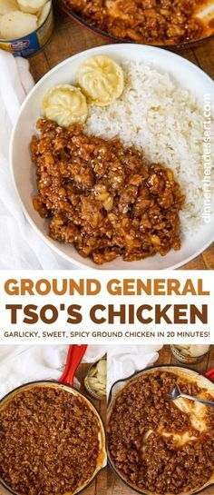 General Tso's Ground Chicken collage Veggie Fries, Veggie Stir Fry, Panda Express Fried Rice, Chinese Food Delivery, Tso Chicken, One Pan Dinner, General Tso, Potluck Dishes, Hoisin Sauce