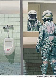 The fabulous astronaut paintings of Scott Listfield.