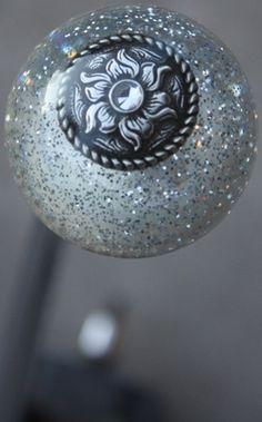 Clear Silver Sparkle Flower Concho Shift Knob