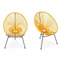 Armando Set of 2 Garden Lounge Chairs, Mustard Garden Lounge Chairs, Outdoor Chairs, Outdoor Furniture Sets, Garden Furniture, Mustard Chair, Acapulco Chair, World Market Dining Chairs, Leather Chair With Ottoman, Composite Adirondack Chairs