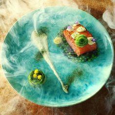 Apple Wood Smoked Salmon • Green Peas • Green Lens • Whipped  Wasabi Cream • Avocado • Cucumber