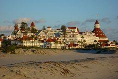 Hotel Del Coronado near San Diego, CA. wooden Victorian resort opened in 1888.