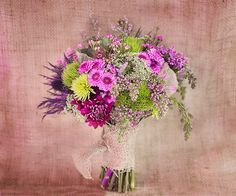 Purple Green Burlap Eco Rustic Bridal Bouquet    www.WeddingGirl.ca